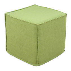 """Chooty - Chooty Burlap Avocado Collection 17"""" Square Seamed Foam Ottoman - Insert 100 High Density Foam, Fabric Content Sanitizied Burlap, Color Green , Hassock 1"""