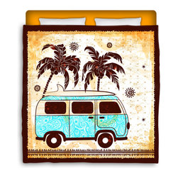 "Surfer Bedding - Eco Friendly ""Vintage Surf Bus"" Made In USA Premium Queen Size Duvet Cover - ""Vintage Surf Bus"" Surfer Bedding Is Premium Quality and Made In The USA!"