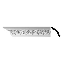 The Renovators Supply - Cornice White Urethane Arlington - Cornice - Ornate | 11385 - Cornices: Made of virtually indestructible high-density urethane our cornice is cast from steel molds guaranteeing the highest quality on the market. High-precision steel molds provide a higher quality pattern consistency, design clarity and overall strength and durability. Lightweight they are easily installed with no special skills. Unlike plaster or wood urethane is resistant to cracking, warping or peeling.  Factory-primed our cornice is ready for finishing.  Measures 4 inch H x 94 inch L.
