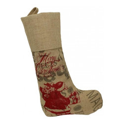 Xia Home Fashions - Saint Nick Christmas With Printed Burlap Collection Stocking - This merry and magical snowman is here to bring your home extra Christmas cheer this holiday season! Embroidered with jewel accents. Spot clean only.