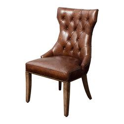 Great Deal Furniture - Hartwell Brown Top Grain Leather Dining Chair - The Hartwell Top Grain Leather Dining Chair is a truly unique statement chair for any room in your home. Made with top grain leather and oak wood, this chair features an elegant tufted backrest and studded accents along the trim. The backrest is slightly rounded for comfortable seating, and the chair's overall details are the perfect blend of contemporary and traditional style.