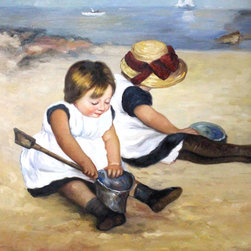 "overstockArt.com - Mary Cassatt - Children Playing on the Beach - 20"" X 24"" Oil Painting On Canvas Hand painted oil reproduction of a famous Mary Cassatt painting, Children Playing on the Beach . The original masterpiece was created in 1884. Today it has been carefully recreated detail-by-detail, color-by-color to near perfection. Cassatt's skill at capturing the natural attitudes of children is highlighted in this painting. The intense expression on one child's face shows her complete concentration with the days activity. Mary Cassatt was an American painter and printmaker. She lived much of her adult life in France befriending Degas and exhibiting with other Impressionists. Cassatt often portrayed the social and private lives of women, with a focus on the intimate bonds between mothers and children. This painting is sure to be admired by friends and family in any room of your home."