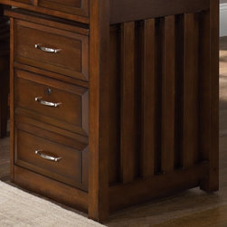 Liberty Furniture - Hampton Bay Mobile File Cabinet in Cherry Finish - Three file drawers ...
