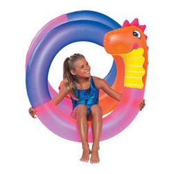 SunSplash - SunSplash Crazy Dino Coil Multicolor - 449-1-1063 - Shop for Floats and Toys from Hayneedle.com! This fun rainbow-colored SunSplash Crazy Dino Coil features a friendly dinosaur head that will become your kid's best friend during pool sessions this summer. The inflatable coil features one air chamber is easy to inflate and is constructed of sturdy polyethylene built to survive years spent with even the most rambunctious kid. Measures 48 inches in diameter.