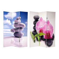 Oriental Unlimted - 3-Panel Double Sided Zen Garden Room Divider - One double-sided divider, both sides shown in image. Well built folding floor screen. A lightweight and portable room divider. Ancient Japanese tradition of Zen rock art and rock gardens. Silver Gray river rock with sky and clouds on the front and striking Black stones with flowers and lucky bamboo on the back. Beautifully printed with richly colorful commercial grade ink. Great for a living room or professional office or dressing screen in a dorm room. Almost entirely opaque, doesn't allow light to pass the double layered printed canvas. Made from sturdy wood frames and covered with quality poly-cotton blend canvas. Each panel: 15.75 in. W x 70.88 in. H. Base weight: 8.25 lbs.