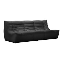 ZUO - ZUO Carnival Modern Leatherette Sofa in Black - Like a big bear hug, cuddling up on this leatherette sofa is both comforting and comfortable. The padded and tufted sectional comes in espresso, black and white, so grab a coffee concoction and hunker down for some binge viewing.