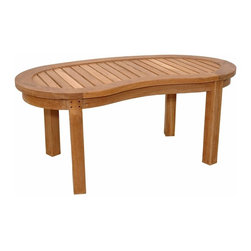 Anderson Teak - Kidney Table (Curve Table) - This table is a perfect compliment for curve bench and armchair. It's unique style that make this table can be use as a set with curve bench and armchair like our set-05 or it can stand alone accompany any chairs or/or benches.