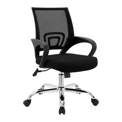 Modway - Modway EEI-278 Zoom Office Chair in Black - Whiz around the office and surprise yourself with speedily completed tasks. The Zoom chair blends comfort with artistic flair for a flash of personality. Charge your seating time with fashionably looped armrests, a clever mesh back, and padded foam seat. The chrome-plated aluminum base has five casters for added support, and a tension knob to personalize the chair's tilt. Zoom is fully height adjustable and also features a built-in lumbar support.