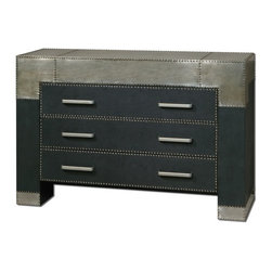 Uttermost - Uttermost 24290  Razi Metal Drawer Chest - Supple, black faux leather finish accented by industrial silver metal sheeting with champagne stain and rivet accents. shown with mirror #07638.