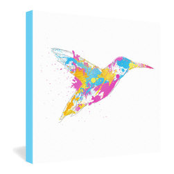 DENY Designs - Robert Farkas Bird Of Colour Gallery Wrapped Canvas - This whimsical sketched hummingbird splattered with bright paint is like the radical son of Picasso's peace dove. Digital artist Robert Farkas' energetic modern print is dyed in vivid, fade-proof ink onto the fibers of a 1 1/2-inch-deep white canvas with bright blue borders.