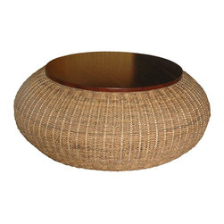 Jeffan International - Bianca Round Cocktail Table w Storage - Handwoven with twisted abaca combined with solid mahogany accents. Made from abaca. Made in Indonesia. No assembly required. 45 in. Dia. x 18 in. H