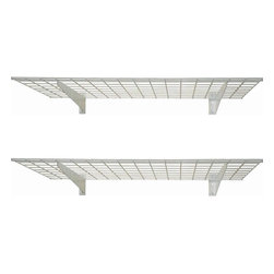 "HyLoft - HyLoft 45"" x 15"" Wall Mounted Shelves (Set of 2) - These shelves are made from strong, durable steel with patented low-profile brackets to increase storage space. The unit measures 45 by 15 inches. Each shelf can hold up to 150 pounds for storing heavy items like, tires, rims, off-season sporting equipment, off-season yard-maintenance gear, and more. It takes just one person to install, with all mounting hardware included."