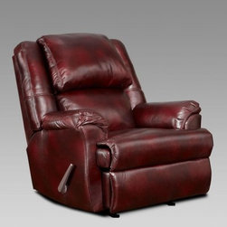 """Chelsea Home Furniture Faux Leather Chaise Rocker Recliner - Plush and attractive, this Chelsea Home Furniture Faux Leather Chaise Rocker Reclinermakes a luxurious addition to any living room or lounge area with similarly styled furniture. Its faux leather upholstery might also make it suitable for a large home or business office. The chair functions as a rocker in its upright position and transforms into a full-blown recliner at the touch of a button, making it suitable for an evening watching television or relaxing into a well-deserved nap. The frame was constructed of a sturdy hardwood that supports a 1.8 density foam cushion with sinuous springs that combine to supply you with an ideal mix of comfort and support. The cushion was designed to offer a """"medium"""" level of softness. Other highlights include a spacious 40-inch-wide seat and comfortable armrests that offer support for forearms and elbows when you're busy holding your favorite beverage, remote control or smartphone. About Chelsea Home FurnitureProviding home elegance in upholstery products such as recliners, stationary upholstery, leather, and accent furniture including chairs, chaises, and benches is the most important part of Chelsea Home Furniture's operations. Bringing high quality, classic and traditional designs that remain fresh for generations to customers' homes is no burden, but a love for hospitality and home beauty. The majority of Chelsea Home Furniture's products are made in the USA, while all are sought after throughout the industry and will remain a staple in home furnishings."""