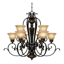Golden Lighting - Jefferson 9-Light Chandelier - This stately chandelier exudes old-world character, casting a warm glow over your table in the dining room or kitchen. Its carved, sculpted arms are fitted with gorgeous, antiqued-marbled glass that diffuses the light to beautiful effect.
