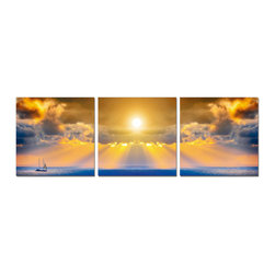 Breathtaking Sunset , 8x24 - ArtCorner offers affordable three-panel wall art for any type of interior wall space. We design each of our wall pieces by mounting beautiful hi-resolution images to high-quality, solid-wood panels. Our decorative wall-art sets are available in three different sizes and can be hung in commercial and office spaces as well as any area of the home. Panels are designed for durability and moisture resistance. Any piece can hang in bathrooms and kitchens without being damaged by heat and moisture.