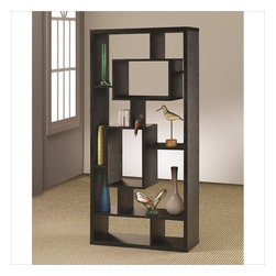 Coaster - Coaster Contemporary Asymmetrical Cube Bookcase Black Finish - Coaster - Bookcases - 800262 - With a contemporary edge that is sure to draw the eyes this asymmetrical backless shelf is visually appealing and structurally stimulating. Featuring cube shelves of varying sizes it has multiple shelf surfaces for home accents and decor of your choosing. Decorate with photo frames vases collectibles books and other accent items. With a black finish and intricate modern design it makes a bold statement to liven up any room.