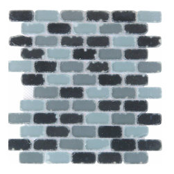 Matte Grey and Black Subway Glass Mosaic - SOLD BY BOX