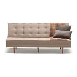 NYFU - Sleek Sofa Bed-Mink - The combination of functionality and elegance. Our Sleek Sofa Bed will give you a smooth experience when you are sitting and laying.Our sofa beds are not just for day time sleeping, they are bold and strong enough to accommodate your sleep every day & night!Pull the back seat slightly towards yourself and then release it to the back to get the full bed.The dense fill of Class A HR-35 foam brings the high-comfort of a plush firm bed.The textured cotton and linen base fabric is durable and the anthracite color gives this modern piece an even more slender look.