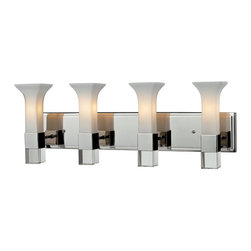 Z-Lite - Z-Lite Lotus Bathroom Light X-HC-V4-116 - With a sleek chrome finish, this four light vanity uses floral inspired matte opal glass shades to create a cutting edge look. Elegant crystal block detailing completes this modern look, making this fixture perfect for any contemporary setting.