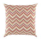"""Surya - Chevron Square Pillow ZZ-425 - 13"""" x 20"""" - Adding creative color to the classic chevron print, this pillow is the perfect solution to updating your decor! Featuring a multi-color chevron pattern, this piece will not only add a pop of color to your space, but also provides a fashionable design sure to catch the eye of any beholder. This pillow provides a reliable and affordable solution to updating your indoor or outdoor decor."""