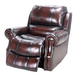 Parker House Midas Leather Power Recline Recliner - Rich, luxurious leather and handsome nailhead trim, the Parker House Midas Leather Power Recline Recliner is a classic choice for your den. It's well-built with a hardwood frame reinforced with corner blocks and completely finished, even under the back flap. Comfort comes from its 2.2-density foam with Dacron wrap and that supple brown leather upholstery. Durable Legget and Platt mechanisms and an Okin motor offer a smooth power recline.About Parker HouseFamily-owned and family-operated, Parker House Furniture is based in California and has been serving the fine furniture industry since 1946. The company's time-proven quality is an industry standard. Parker House continues its legacy with its newest line of expanding television consoles and entertainment wall systems, plasma TV stands, and accessories. Parker House takes pride in the quality of its furniture and is committed to making customer satisfaction its number one priority.