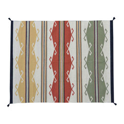 Area Rug, 100% Wool 5'X7' Flat Weave Navajo Design Hand Woven Rug SH11465 - Soumaks & Kilims are prominent Flat Woven Rugs.  Flat Woven Rugs are made by weaving wool onto a foundation of cotton warps on the loom.  The unique trait about these thin rugs is that they're reversible.  Pillows and Blankets can be made from Soumas & Kilims.