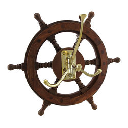 Zeckos - Wooden Ship Wheel Wall Hanging with Adjustable Hooks - Add a functional nautical accent to your wall with this wooden ship's wheel style wall hanging that includes three gold-tone metal hooks that adjust for hanging coats, jackets, hats or even the dog's leash. It's great in an entryway at 12.25 inches diameter and 5.75 inches deep (31 x 15 cm) so you'll always know where your keys are, and the hooks fold flat when not in use. It's great as a housewarming gift for any seafaring friends sure to be admired