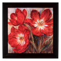 Pretty Cheerful Red Floral Print in Black Frame - Cheerful red floral framed in a black frame.  Great dramatic accent for any room.