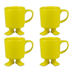 Dylan Kendall - Dylan Kendall-4 Yellow Ceramic Mugs w/Feet - A fantastic way to wake up with a little laughter and play or bring a smile to your afternoon pick-me-up! Its the yellow family of 4 Ceramics! Have fun saving more!