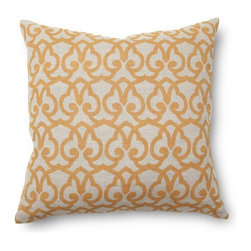 Villa Home - Full Bloom London Print Gold Pillow - Discover the alluring pleasure of warm gold hues and a hypnotic scroll arrangement with our London Print Pillow.  Handcrafted from all natural materials this symphony of refined bliss will accentuate any decor.  A plush feather down insert included with every pillow.