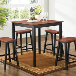 "Coaster - 5 Pc Dining Set in Dark Oak - 5pc Pub Set finished in Oak and Black made with wood veneer tops.; Transitional Style; Finish: Dark Oak; Fabric Color: Black; No assembly required.; Dimensions: Table: 36""L x 36""W x 36""H; Stool: 13.5""L x 17.25""W x 23""H"