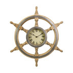 iMax - iMax Wood Ship Wheel Clock - Handsome ship wheel clock with a rustic finish