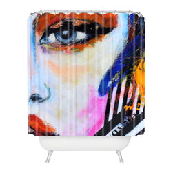 DENY Designs - Lana Greben Real Fantasies Prada 2 Shower Curtain - Who says bathrooms can't be fun? To get the most bang for your buck, start with an artistic, inventive shower curtain. We've got endless options that will really make your bathroom pop. Heck, your guests may start spending a little extra time in there because of it!