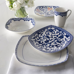 "Lauren Ralph Lauren - Lauren Ralph Lauren Four-Piece ""Mandarin"" Dinnerware Place Setting - Square dinnerware in blue and white with Asian-inspired designs. Accent plates, sold separately, give an additional burst of color. From Lauren Ralph Lauren. Made of porcelain. Microwave and dishwasher safe. Place setting includes dinner plate, sa..."