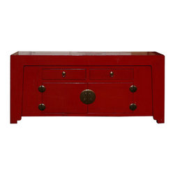 Golden Lotus - Chinese Red Lacquer Moon Face Console TV Stand Buffet Table - This is a simple clean design sideboard table with oriental red lacquer finish. The front is decorated with oriental bronze hardware.