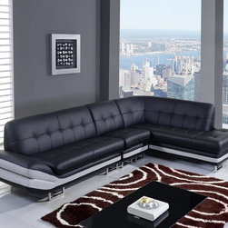Global Furniture - Global Furniture 3 Pieces Sectional Natalie Bl - Add a touch of style to your living space with this black and white bonded leather sectional. It features angled left side  tufted details sleek metal legs and a spacious chaise for lounging and relaxing.