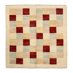 """Darya Rugs - Darya Rugs Modern, Ivory, 5'1"""" x 5'1"""" M1628-241 - Darya Rugs Modern collection represents a minimalistic, timeless statement that complements transitional, contemporary, and traditional interiors. All rugs were hand-knotted by skilled artisans and weavers."""