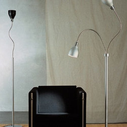 """Anton Angeli - Anton Angeli Garden floor lamp - The Garden floor lamp from Anton Angeli has been designed by Silvia Songi & Theo Sogni in 1996. This floor mounted luminaire is perfect for incandescent lighting. Garden is an aluminium shade supported by a flexible structure for floor, table lamps (with base or clamps), wall. The Garden's composition of a shade in natural aluminum with structure in opaque anodized aluminum, gives this cutting-edge luminaire a sleek and practical design. Available in the following finishes: aluminum, blue, red, yellow, orange, black and white.  Product description: The Garden floor lamp from Anton Angeli has been designed by Silvia Songi & Theo Sogni in 1996. This floor mounted luminaire is perfect for incandescent lighting. Garden is an aluminium shade supported by a flexible structure for floor, table lamps (with base or clamps), wall. The Garden's composition of a shade in natural aluminum with structure in opaque anodized aluminum, gives this cutting-edge luminaire a sleek and practical design. Available in the following finishes: aluminum, blue, red, yellow, orange, black and white. Details:                                     Manufacturer:                                     Anton Angeli                                                     Designer:                                     Silvia Songi & Theo Sogni, 2001                                                     Made in:                                     Italy                                                     Dimensions:                                     F1: Height: MAX 75.6"""" (192 cm) Base Width: 10.2"""" (26 cm)                          F2: Height: MAX 75.6"""" (192 cm) Base Width: 10.2"""" (26 cm)                                                                                                                  Light bulb:                                     F1: 1 x 60W incandescent                          F2: 2 x 60W incandescent                                                 """