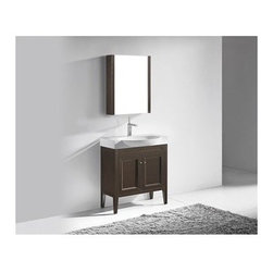 """Madeli - Madeli Sanremo 32"""" Bathroom Vanity - Walnut - Madeli brings together a team with 25 years of combined experience, the newest production technologies, and reliable availability of it's products. Featuring sleek sophisticated lines Madeli vanities are also created with contemporary finishes and materials. Some vanities also feature Blum soft-close hardware. Madeli also includes a Limited 1 Year Warranty on Glass Vessels, Basin, and Counter Tops. Enjoy the simple beauty and warmth of X-Stone Solid Surface in your bath. Designed for narrower spaces, the Sanremo Collection's transitional style and polyurethane-protected solid wood Walnut veneer or Matte White finish is the definition of sophistication. Complete with a beautifully sculpted, full-size X-Stone White basin, soft-closing cabinet doors, and softly tapered legs, it's sure to add a sense of quiet beauty and relaxed charm to your home. Features Base vanity with drawer inside and Blum soft-close hinge Walnut finish Stainless Steel finish handleFaucet and drain are not includedX-Stone Solid Surface Basin with no overflow drilled for single faucet mount Matching mirror and medicine cabinet available Limited 1 Year Warranty on Glass Vessels, Basin, and Counter Tops How to handle your counter Spec Sheet Installation Instructions"""