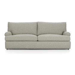 Ellyson Queen Sleeper Sofa - Traditional roll-arm sofa takes a relaxed turn, rolling arms wide and plumping the welcoming frame with indulgently soft seat and back cushions. Family-friendly poly-acrylic upholstery weaves tweedy shades of warm grey for a cozy, textured and durable covering. Understated recessed block legs provide subtle support.