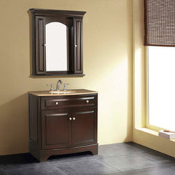Stufurhome - Amanda Single Sink Bathroom Vanity with Travertine Marble Top and Mirror - The Amanda Single Sink Vanity is stylish, useful and compact. It has the looks to die for and can adapt in any kind of home and decor.