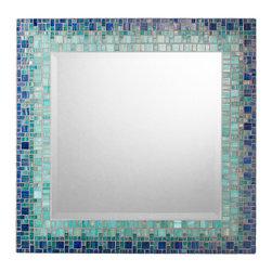 """Mosaic Mirror - Deep Blue & Teal (Handmade), 30"""" - MIRROR DESCRIPTION"""