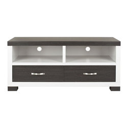 Safavieh - Monroe 2 Drawer Tv Cabinet - Dark Grey/ Charcoal/ Woodgrain/ White - Bring modern, natural style into the media room with the Monroe Two-Drawer TV Cabinet. Its warm, sophisticated wood grain finish is perfectly paired with charcoal and white for contemporary flair, and two ample drawers with metallic pulls are perfect for hiding electrical accoutrements.