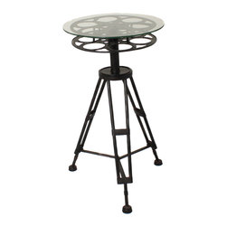 "ecWorld - Urban Designs Holllywood Film Reel 25"" Round Top Metal Accent Table - Designed just for media rooms and movie buffs, our handcrafted metal table features a vintage-style tripod base and film reel surface with a durable tempered glass top. A striking conversation piece and a great accent to any room decor."