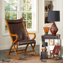 None - Spencer Rocker - This rustic leather seat rocking chair from Spencer, has a hand-rubbed satin finish. The hardwood frame and hand-nailed brown leather upholstery make a charming, comfortable, and sturdy addition to any room. It comes in brown or red.