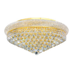 """Worldwide Lighting - Empire 15 Light Gold Finish Crystal 28"""" Round Flush Mount Ceiling Light, Large - This stunning 15-light ceiling light only uses the best quality material and workmanship ensuring a beautiful heirloom quality piece. Featuring a radiant gold finish and finely cut premium grade crystals with a lead content of 30%, this elegant ceiling light will give any room sparkle and glamour. Worldwide Lighting Corporation is a privately owned manufacturer of high quality crystal chandeliers, pendants, surface mounts, sconces and custom decorative lighting products for the residential, hospitality and commercial building markets. Our high quality crystals meet all standards of perfection, possessing lead oxide of 30% that is above industry standards and can be seen in prestigious homes, hotels, restaurants, casinos, and churches across the country. Our mission is to enhance your lighting needs with exceptional quality fixtures at a reasonable price."""