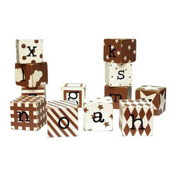 "New Arrivals Inc. - Brown Block Letters - The Brown Block Letters by New Arrivals Inc. are hand-painted and perfect for spelling out your child's name or favorite phrase. The Blocks are 2"" square and are distressed on the edges. Each letter has its own unique pattern."