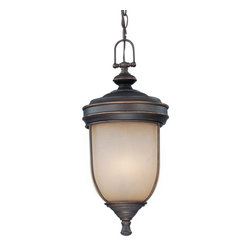 Lite Source - Shanton Outdoor Pendant Lamp - This Outdoor Pendant Lamp from the Lite Source Shanton Collection has an Antique Rust body and Light Amber Glass shade. It will add style to any home! Specifications: