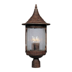 """Designers Fountain - Designers Fountain Canyon Lake Outdoor Post/Pier in Chestnut - Shown in picture: 11"""" Cast Post Lantern in Chestnut finish"""