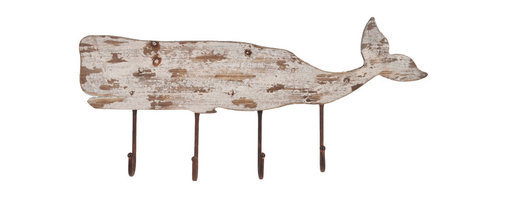 Enchante Accessories Inc - Distressed Wood Whale Coat Rack with 4  Hooks (Distressed Cream) - This distressed wood sperm Whale coat rack features beautifully aged wooden sperm whale with 4 hooks for coats / Hats etc.